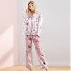 Stars Printed Black Silk Pajamas For Women Color