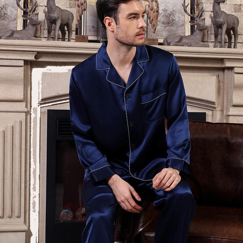 luxury Long Silk Couple Pajamas With Stripe Piping