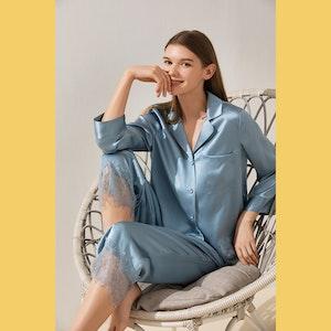 Silk Pajama Set With Thick Lace Trim