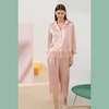 Silk Pajama Set With Thick Lace Trim Color