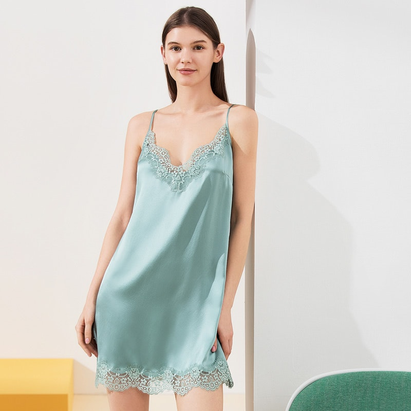 Mid Length Silk Nightgown With Lace Trim
