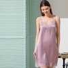 Mid Length Silk Nightgown With Lace Trim Color