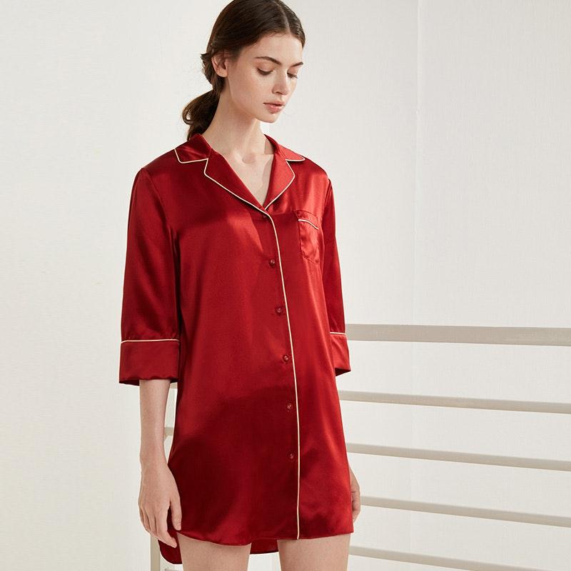 Stylish Contra Trim Silk Sleep Shirt