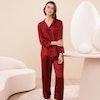Women Chic Silk Pajama Set With Contra Trim Color