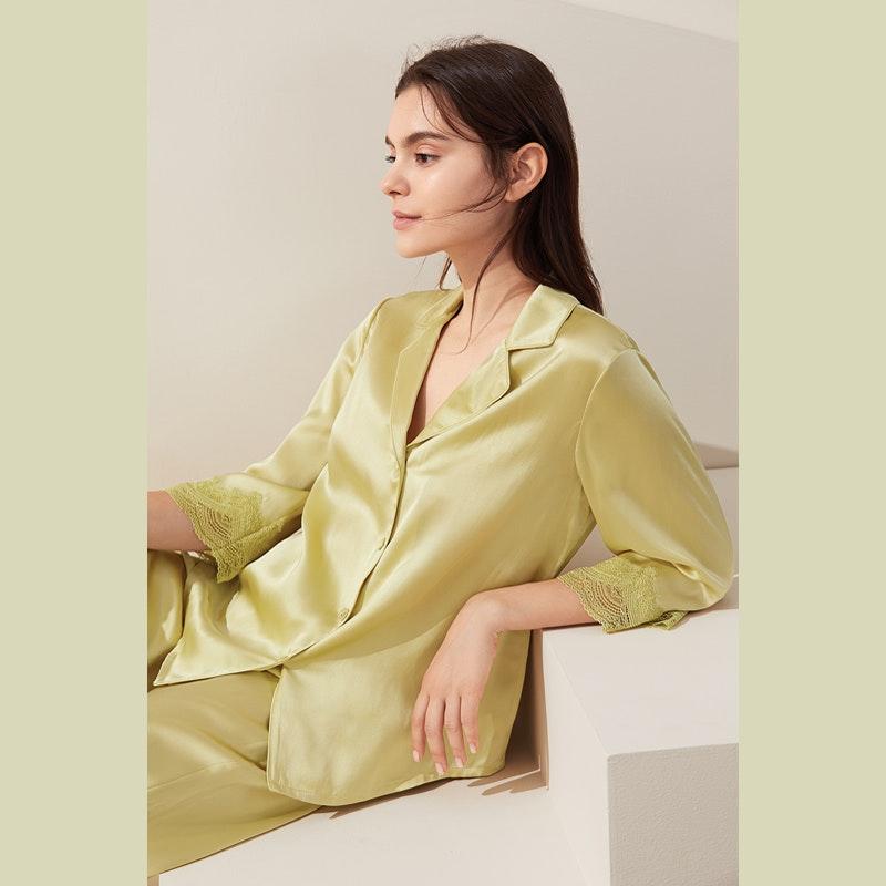 Cute Women Silk Pajama Set With Lace Cuff