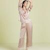 Cute Women Silk Pajama Set With Lace Cuff Color