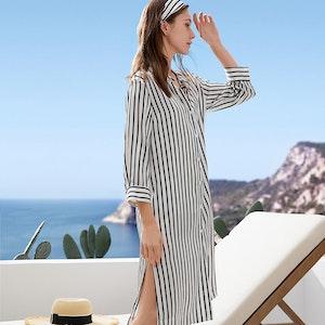 Women Classic Striped Silk Shirt Dress