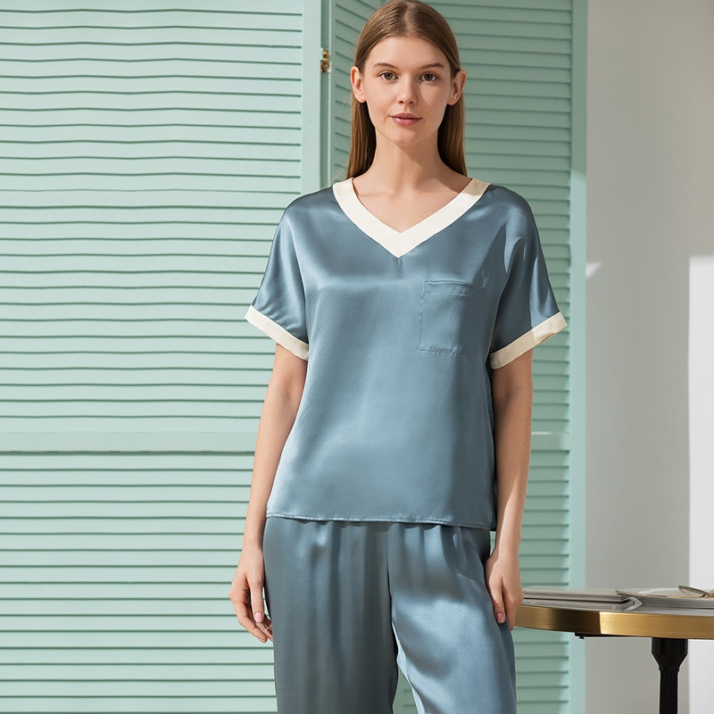 Women V Neck Pullover Silk Pajama Set