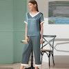 Women V Neck Pullover Silk Pajama Set Color
