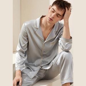 Mens Silk Pajama Set With Piping