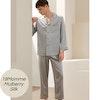 Mens Silk Pajama Set With Piping Color