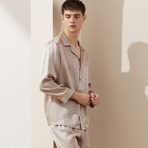 Mens Classic Long Silk Pajamas Set