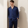 Mens Classic Long Silk Pajamas Set Color