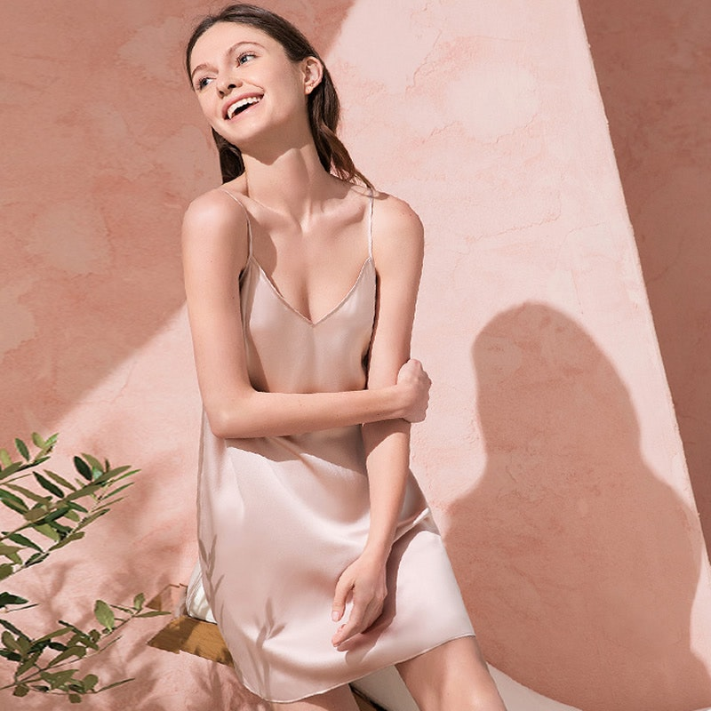 Women Sexy V-neck Silk Nightgown