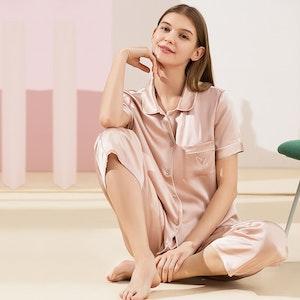 19Momme Chic Piping Short Sleeve Silk Pajamas