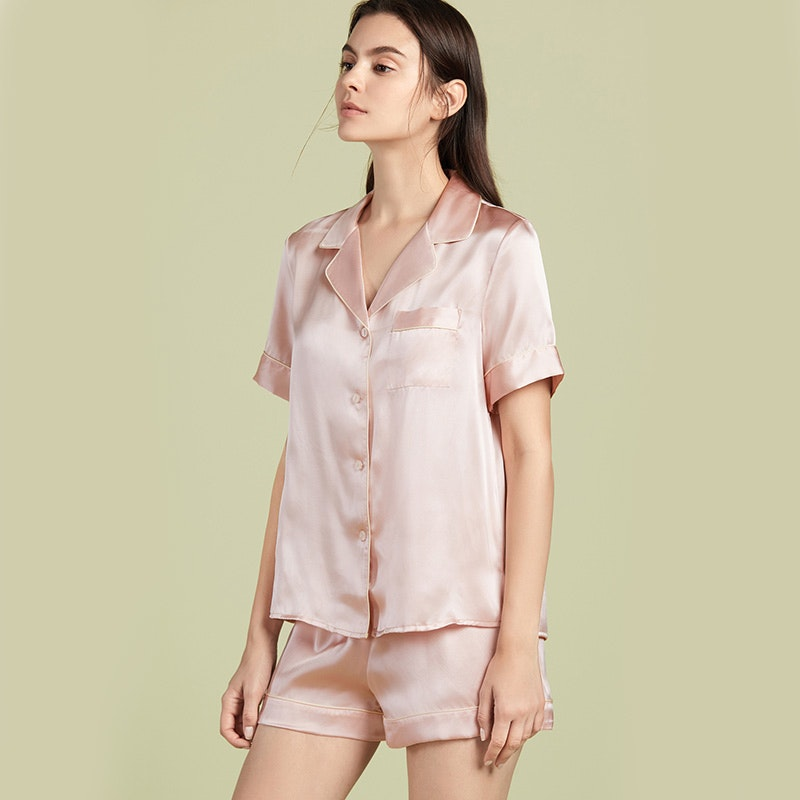 Classic Silk Short Pajamas With Piping