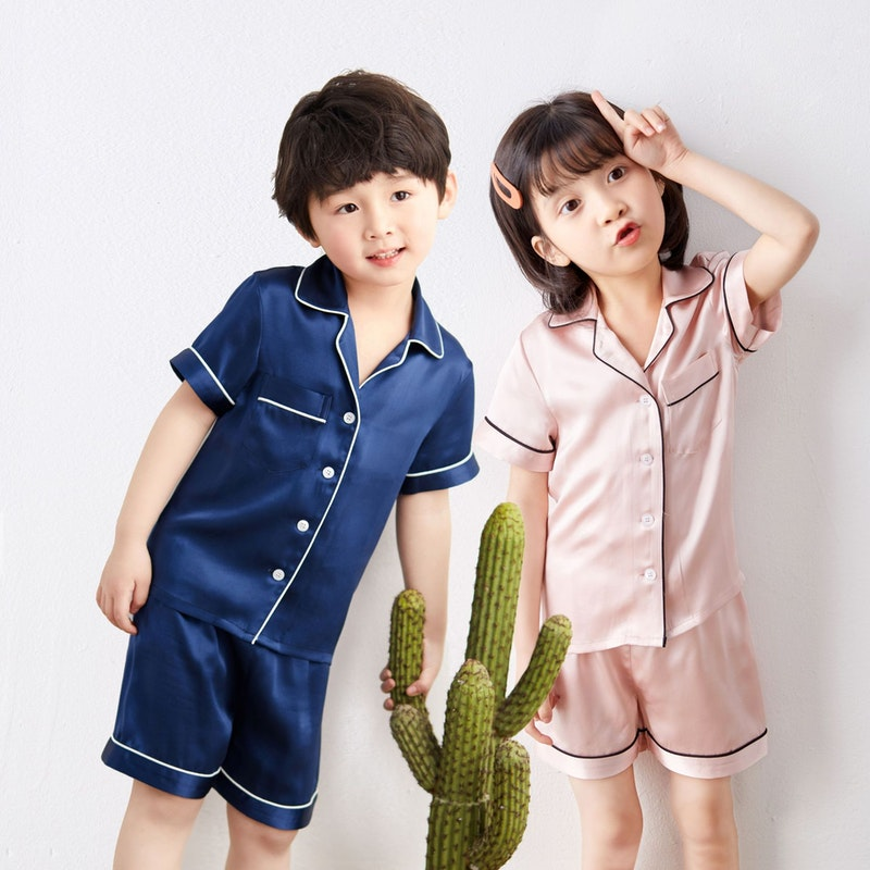 Kids 19 Momme Classic Silk Short Pajamas