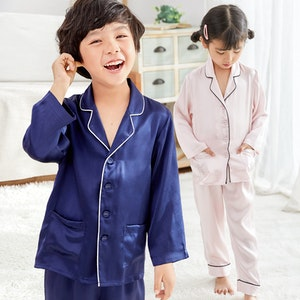 Kids 16 Momme Classic Silk Long Pajamas
