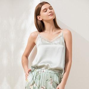Stylish Silk Camisole With Lace Trim