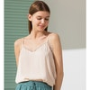 Stylish Silk Camisole With Lace Trim Color