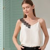 Cute Silk Camisole With Lace Shoulder Strap Color