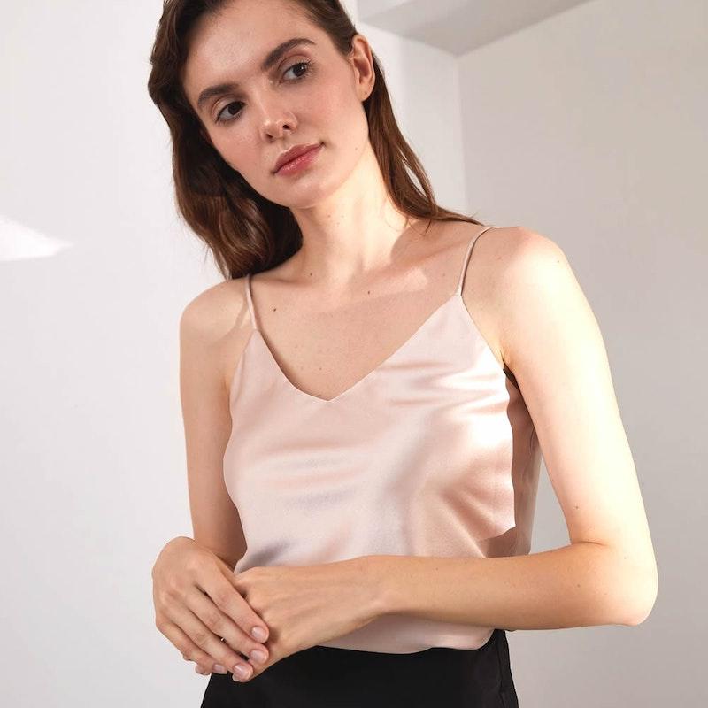 Women Classic Silk Camisole V Neck